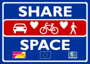 Hinweiszeichen eines Shared-Space-Bereichs