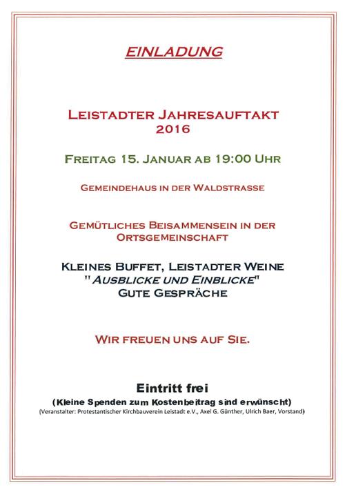 Einladung Kichbauverein Leistadt