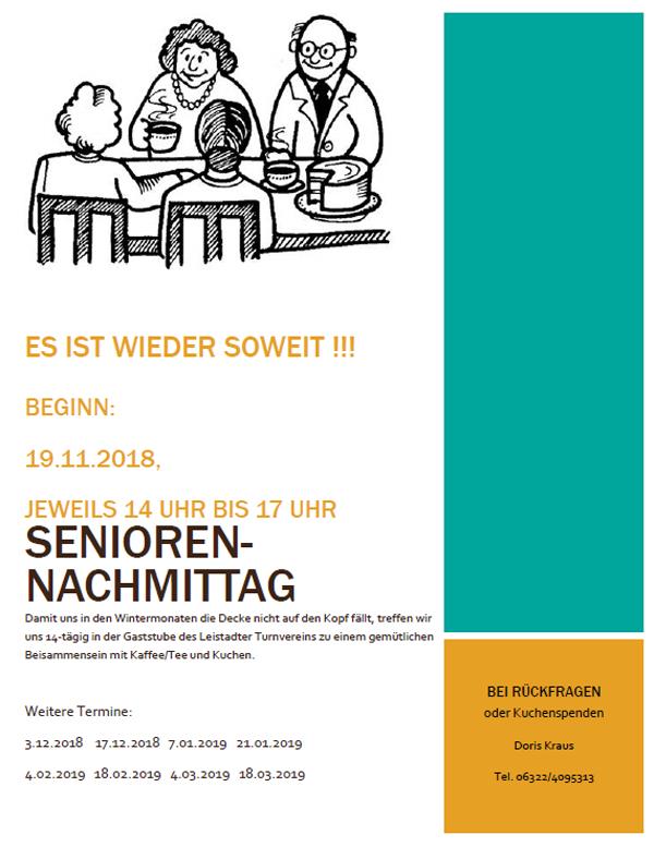 Leistadter Seniorennachmittag über die Wintermonate 2018/2019