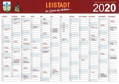 Jahreskalender Leistadt 2020